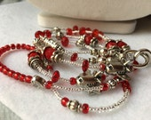 Red Airplane ID Badge Lanyard with silver planes and detachable clasp