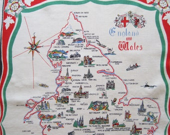 Standall Brand Vintage Souvenir Linen Tea Kitchen Dish Towel England and Wales Map Sights Castles White Red Green English
