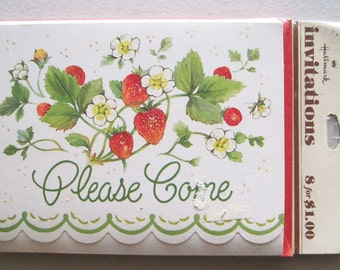 Vintage Hallmark Party Invitations Set of 8 Cards Old New Stock NIP Strawberries Scalloped Edge Red Envelopes