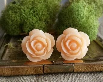 Flower Plugs, Wedding Gauges, Prom Plugs, Peach, Roses