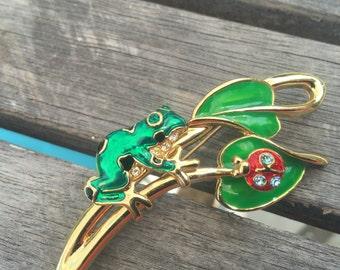 Whimsical Frog on Leaf Stem with Spring Moveable Ladybug
