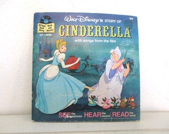 Vintage 1977 record and book, Cinderella with songs from the film, Disney, 24 page read along, 33 1/3  RPM record
