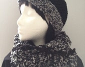 Chunky Crochet Hat and Mobius Cowl Scarf Set, Crochet Chunky Hat, Crochet Chunky Mobius Scarf, Crochet Chunky Hat and Scarf, Black Fancy Hat