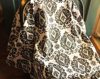 Baby Car Seat Cover, Matching Blanket, Car Seat Canopy, Custom Made To Order, Infant Car Seat Canopy, Baby Car Seat Canopy, Black / White Da