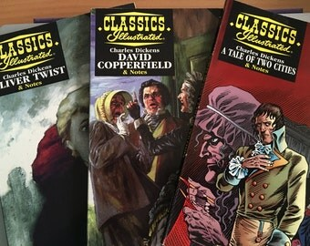 Set of three Classics Illustrated featuring Charles Dickens