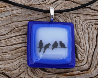 4 Birds on a Wire Fused Glass Pendant - Blue and White Glass - Handmade Glass Jewelry - Nature Jewelry