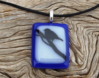 Blue and White Fused Glass Pendant - Handmade Glass Jewelry - Black Bird Decal on a Branch - Nature Jewelry