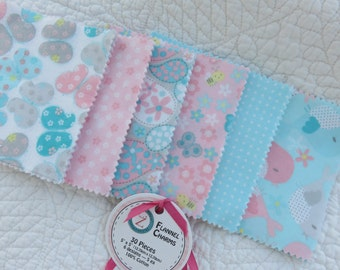 "Flannel Charm Pack of 30 squares 5"" x 5"" Six Designs 5 each"