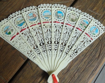 Vintage CELLULOID Lace Fan Italy Souvenir