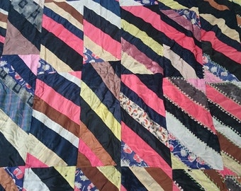 Antique Crazy Quilt Blanket Hand Quilted  Stitched Top Early 1900's Primitive