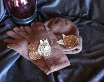 Brown Knit Winter Hat and Glove Set