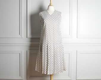 SALE / Dress Drop Waist Shift / White Polka Dot / Pleated Skirt Sleeveless / Fall Mod Chic / 60s Vintage / Medium M Large L