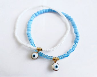 Beaded Evil Eye Bracelet, Dainty Everyday Talisman Bracelet, Stretch Bracelet, Minimalist Stacking Bracelet