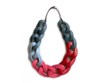Chunky Statement Necklace,Chain Link Necklace - LAVA - Grey Pink Red Necklace