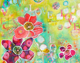 Inspirational LOVE & Flowers Art Fine Art Print