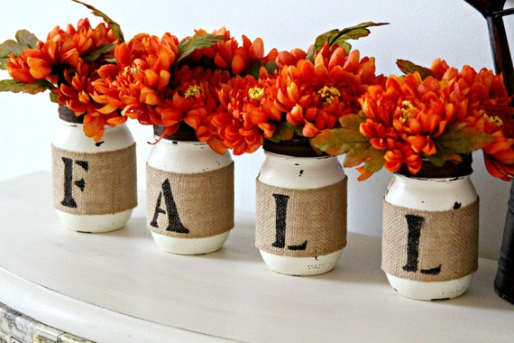 Fall Home Decor,Thanksgiving Table Decor,Mason Jars Decor, Rustic Decor,Fall Home Decoration,Table Centerpiece,Rustic Halloween Decor