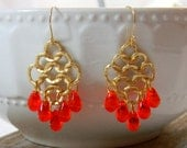 Orange Chandelier Earrings Bohemian Gypsy dangle earrings Gold tone earrings Gold filled Earwires