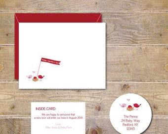Birth Announcements, Valetine's Day, Valentine's Birth Announcements, New Baby, Baby Announcements, Valentine Baby, Birds