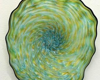 Beautiful Hand Blown Glass Art Wall Platter Bowl 6519  ONEIL