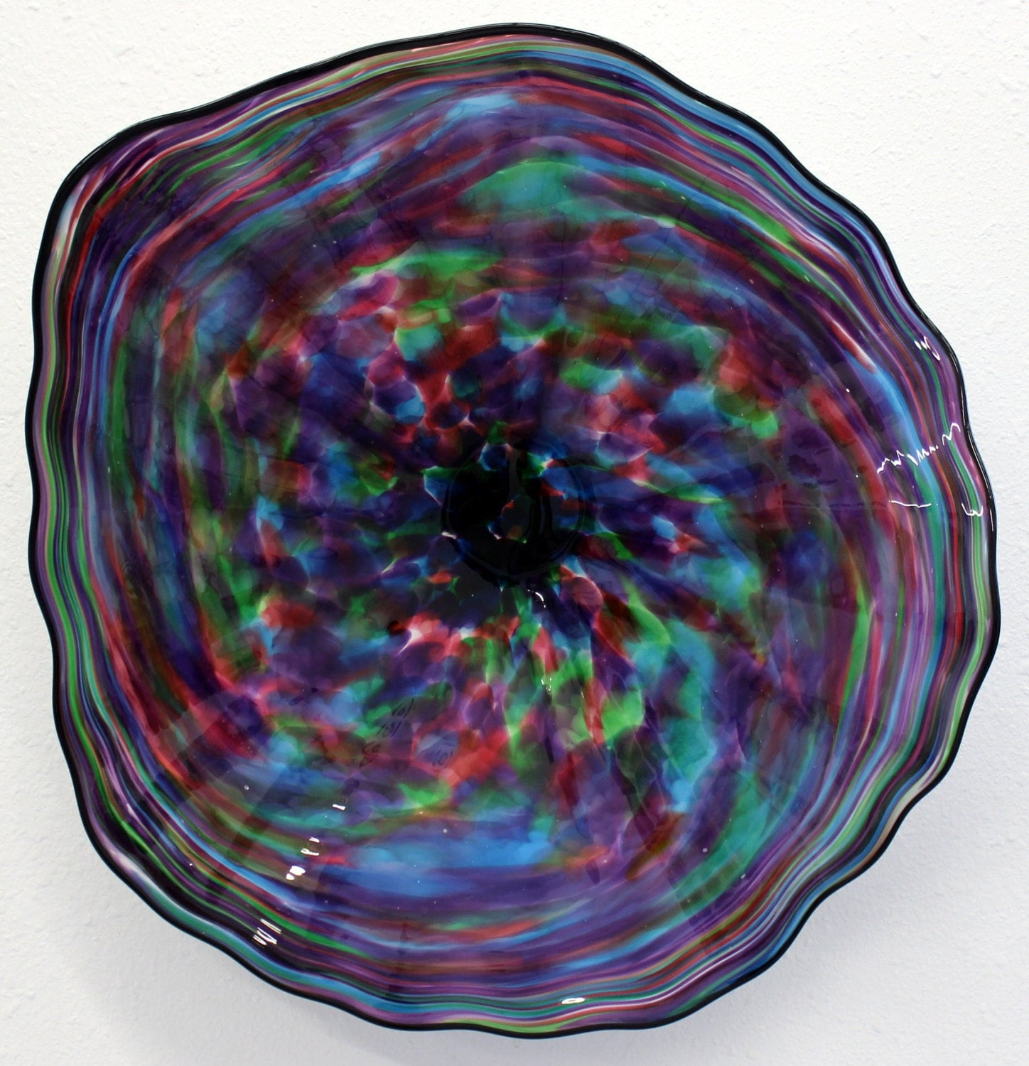 Blown Glass Wall Decor : Beautiful hand blown glass art wall platter bowl by oneilsarts