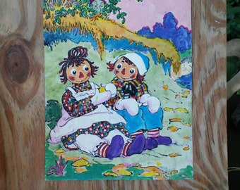 Raggedy Ann & Andy decoupage.  Original Farnsley painting on the back.
