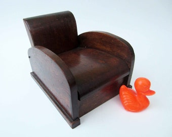 French vintage wood BOX CLUB CHAIR shaped⎮doll house armchair⎮jewelry treasury box⎮solid wood⎮handmade toy game⎮collectible