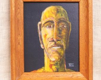 Original Fine Art Male Portrait Painting, Wil Shepherd Studio, Portraiture, Paintings of Men, Framed, Hand Painted, Pictures of Men, 8 x 10