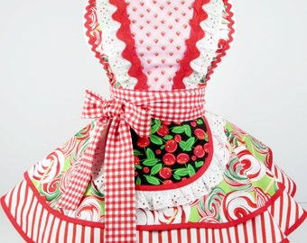 Cherry Maltshop Candy Apron Womens Retro Pinup Diner Waitress Apron