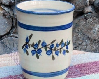 blueberry design handmade pottery vase - ceramic flower vase - ceramic jar - handmade pottery utensil holder - kitchen tool storage - 110826