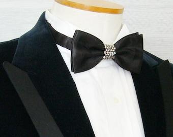 Black Satin Rhinestoned Pre-tied Adjustable Bow Tie w/ Silver Rhinestones