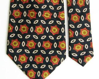Vintage Lanvin Silk Tie - Black Ground w/ Red, Yellow & Grey Medallion and White Pearl Rings Pattern Necktie