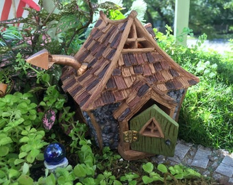 """Fairy Garden House, Miniature Cottage, """"Shingletown Cottage"""" With Hinged Open & Close Door, Miniature Gardening, Home and Garden Decor"""