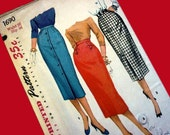 1950s Uncut Slim Pencil or Wiggle Skirt Pattern - Dated 1956 Simplicity 1690 Waist 26 Hip 36 - Vintage Straight Skirt Pattern