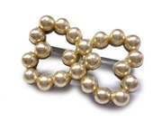 Vintage Pearl Double Heart Brooch Set in Metal - Love Pin - Sweetheart Entwined Heart Pin - Double Hearts -  Love You Pearl Brooch