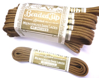 "45"" Antique Edwardian Still Packaged Shoelaces Beaded Tip - Deep Beige 1920s Vintage Shoelaces - per Pair - Shoestrings - Old Bootlaces"