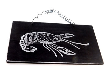 CAJUN crawfish - put a little CAJUN in your kitchen  - Wood ready to hang with wire