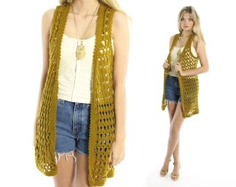 Vintage 70s Crochet Sweater Vest Olive Green Open Knit Long Cardigan 1970s Medium M Hippie Boho