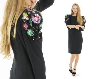 Vintage 80s Cocktail Dress Floral Sequin Sequin Bow Little Black Dress LBD 1980s Medium M Long Sleeves Evening Gown Jack Bryan