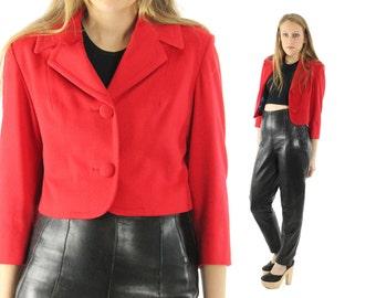 Vintage 60s Cropped Wool Jacket Red Collared Blazer 1960s Outerwear Fashion Work Business Medium M