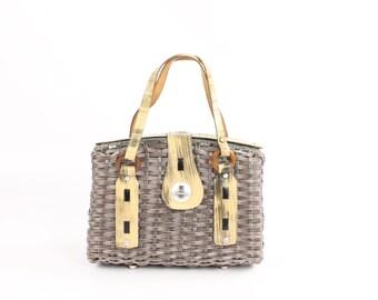 Vintage 70s Woven Wicker Box Purse Gray Straw Bag Leather Straps 1970s Handbag Hippie Boho Tote