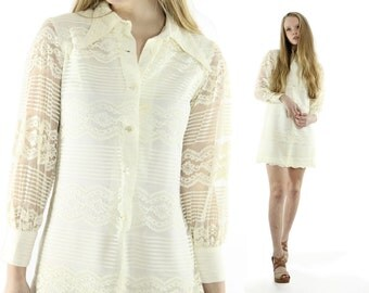 Vintage 70s Lace Mini Dress Long Sleeve Collared Sheer Ivory 1970s Small S Hippie Boho Bohemian