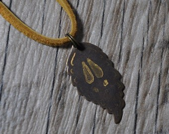 Engraved Deer Hoof Leaf Necklace