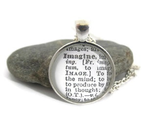 IMAGINE Definition Necklace - Dictionary Pendant Necklace - Bronzed or Silver