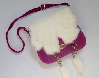 MOD Vintage 1970's Purple Suede Leather & White Rabbit Purse Satchel Shoulder Bag w/Adjustable Strap