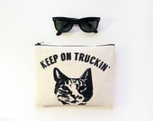 Kitty Cat Zip Pouch Crazy Cat Lady Gift Zipper Clutch Purse Organizer Funny Joke Humorous Accessories Made in Nashville USA Wholesale