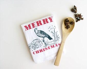 Merry Christmas Holiday Towel SALE Floursack Kitchen Bird Cotton Holiday Dishtowel Teacher Hostess under 20 Nashville