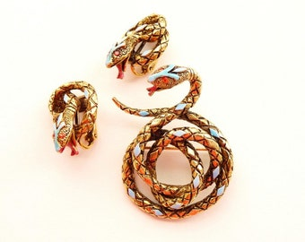 Vintage Snake Pin Earrings Signed ART Gold Tone Serpents