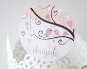 48 units of Obrigado stickers - Seal Sticker - Gift Sticker - Matte Finish - Ready to ship!