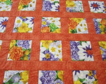 Patchwork Quilt, Bright Floral Quilt, Wheelchair Quilt, Colorful Lap Throw, Orange Patchwork Quilt