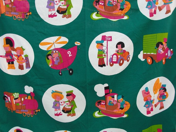 Items similar to clearance sale green vintage childrens for Vintage childrens fabric by the yard